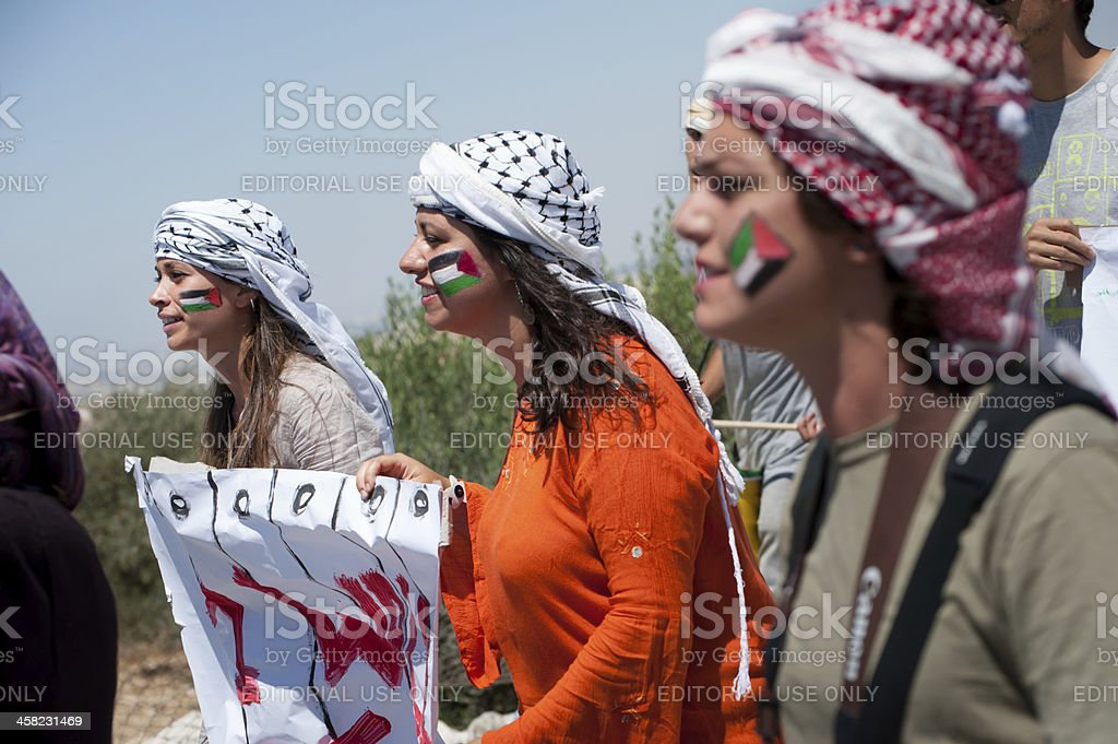 Activists protest Israeli wall stock photo