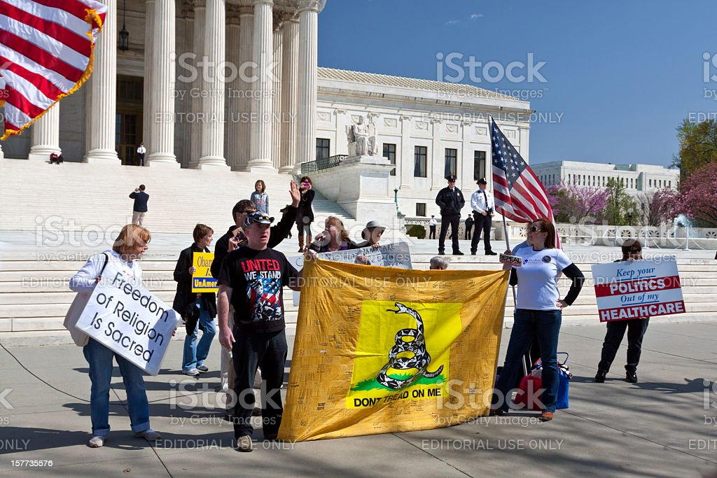 Activists protest National Healthcare Law (Obamacare), US Supreme Court, Washington. royalty-free stock photo