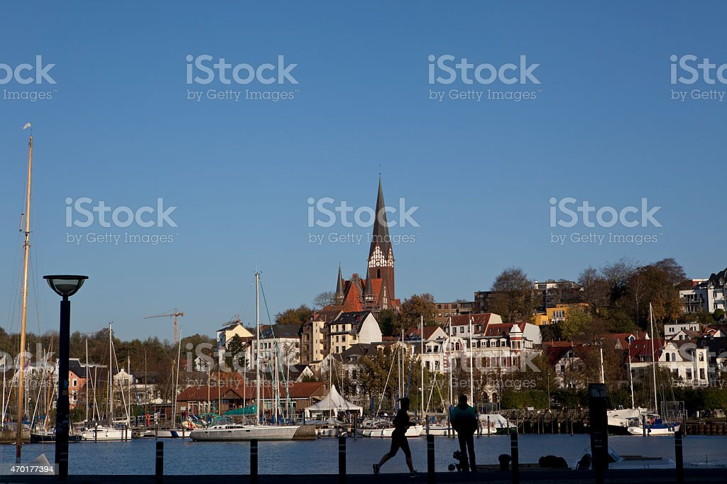Activities at Flensburg Marina stock photo