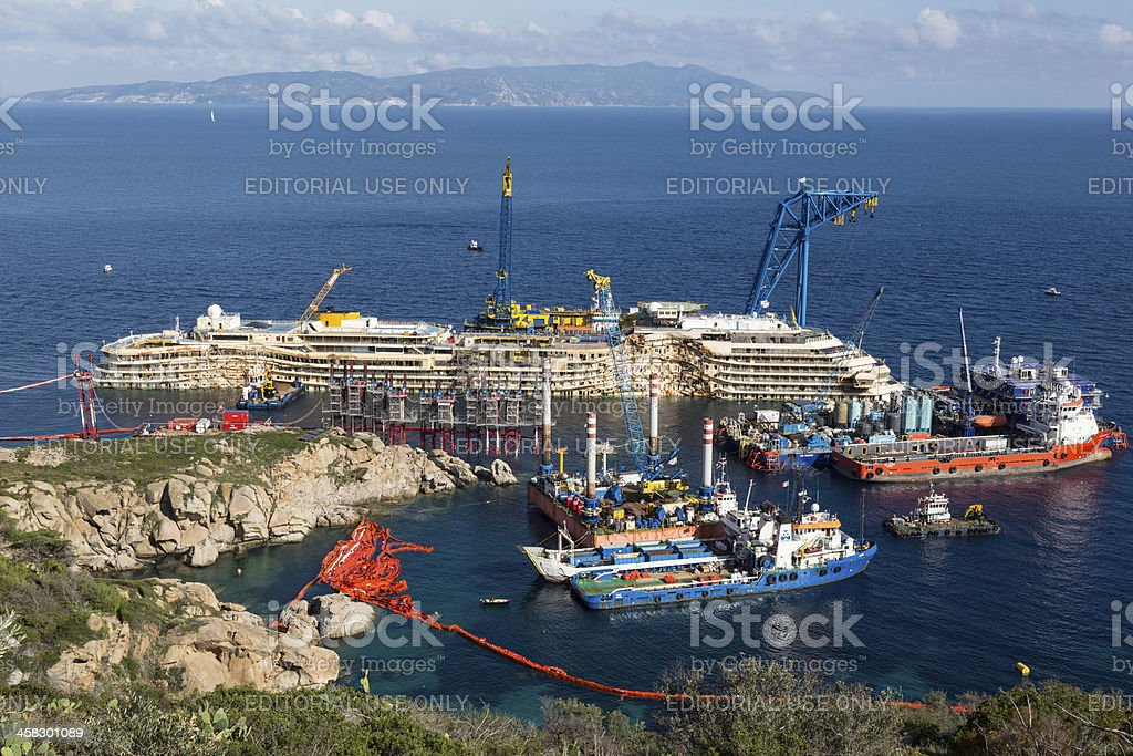 Activities On The Wreck Of Costa Concordia stock photo