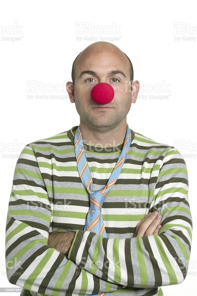 Actor clown posing red nose and tie royalty-free stock photo