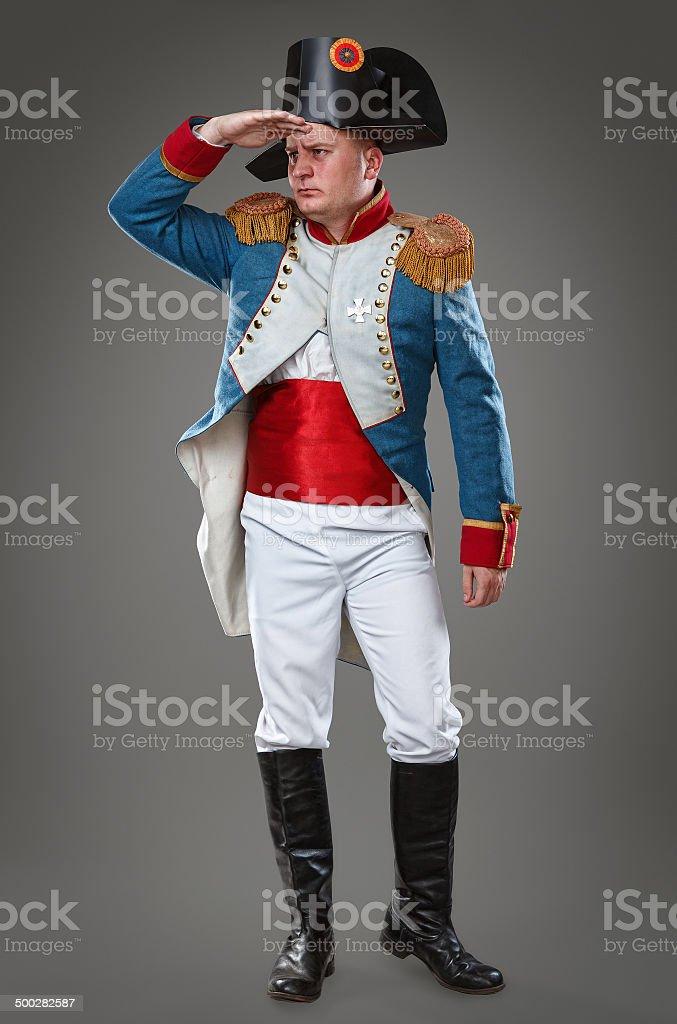 Actor dressed as Napoleon stock photo