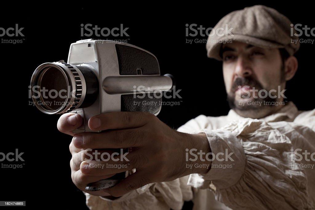 Actor Holding A Handcam As Handgun royalty-free stock photo
