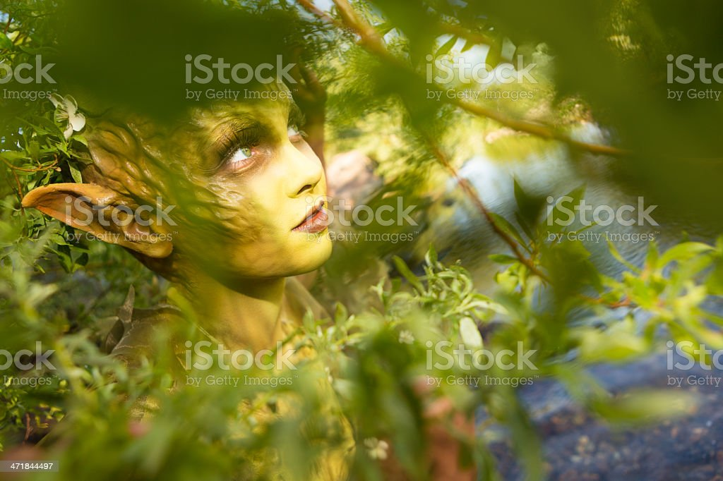 Actor in theatrical woodland fairy creature makeup royalty-free stock photo