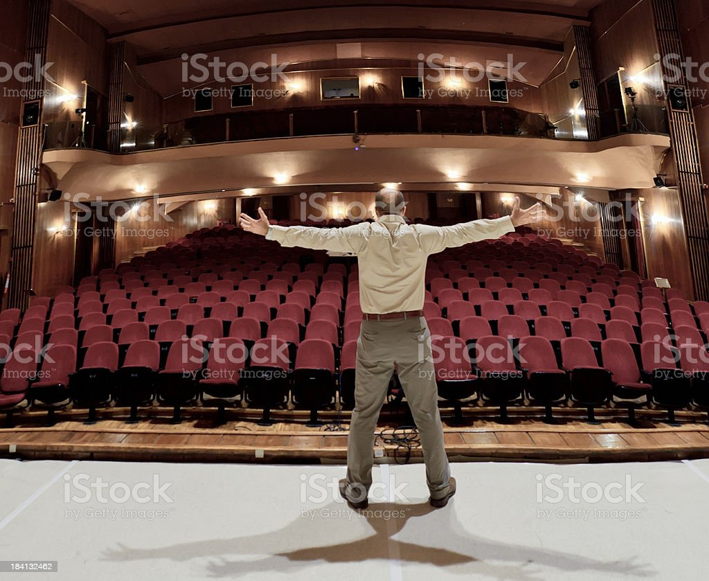 Actor on stage stock photo