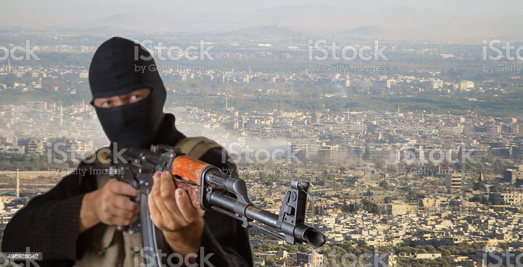 Actor posing as a terrorist stock photo