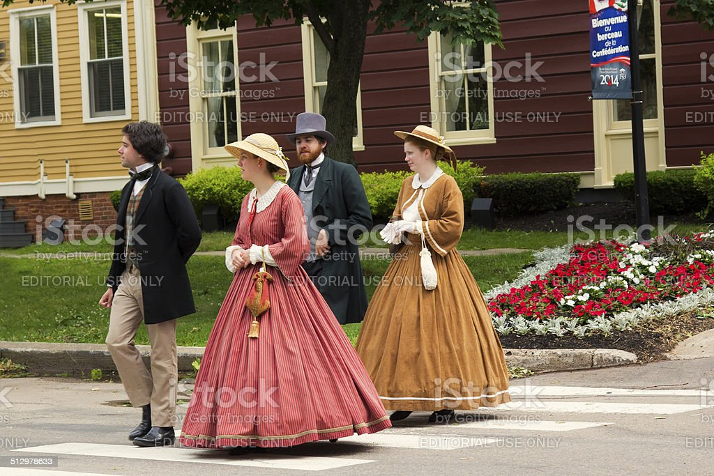 Actors dressed as Fathers and Ladies of Confederation in Charlottetown stock photo