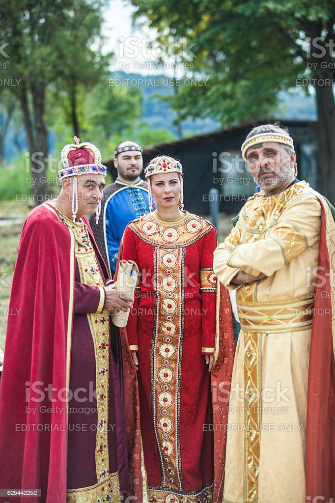 Actors in medieval clothes Bulgarian king and queen stock photo