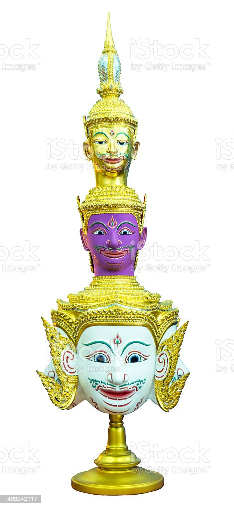 Actor's mask of Trimurti gods isolated on white stock photo