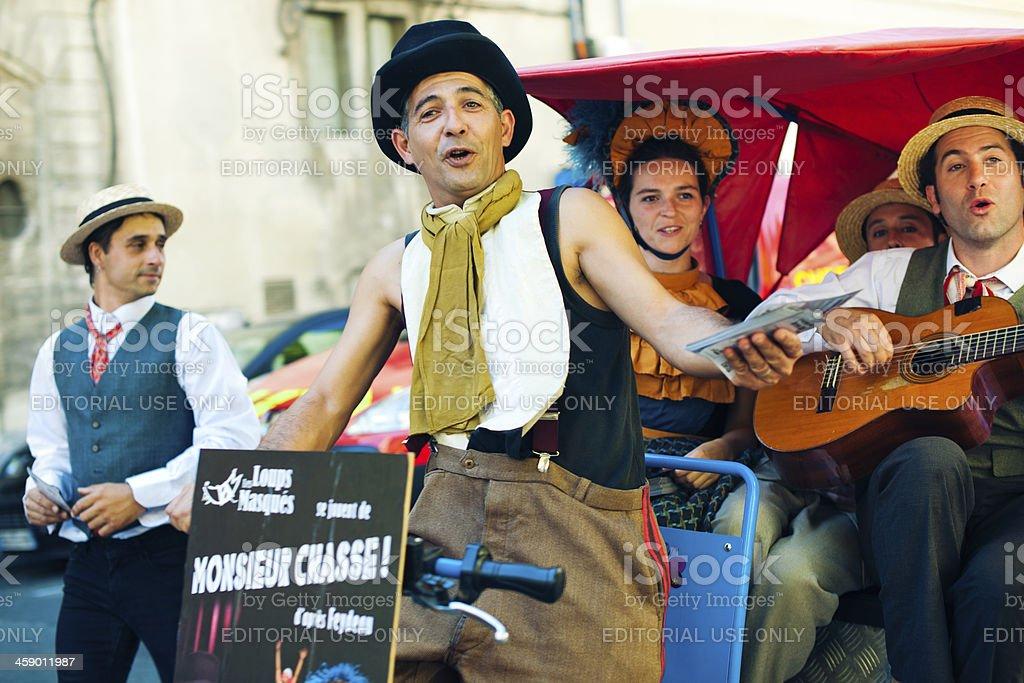 Actors on a street of Avignon stock photo