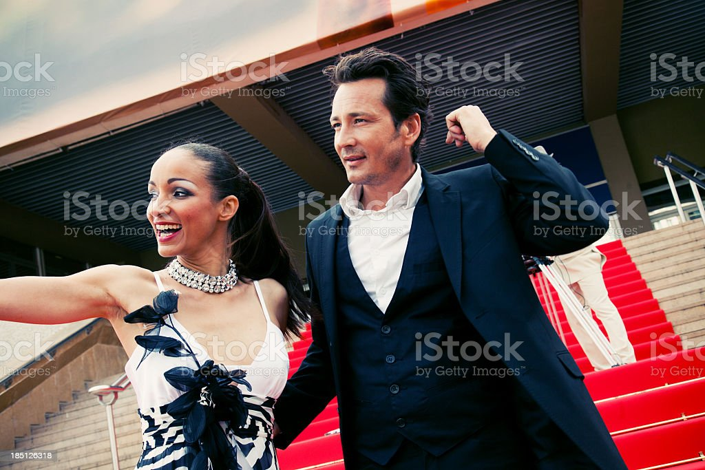Actors on red carpet royalty-free stock photo