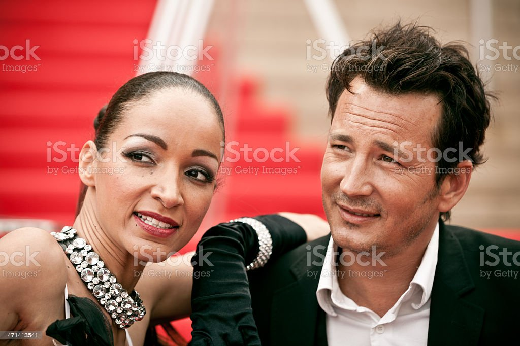 Actors on red carpet stock photo
