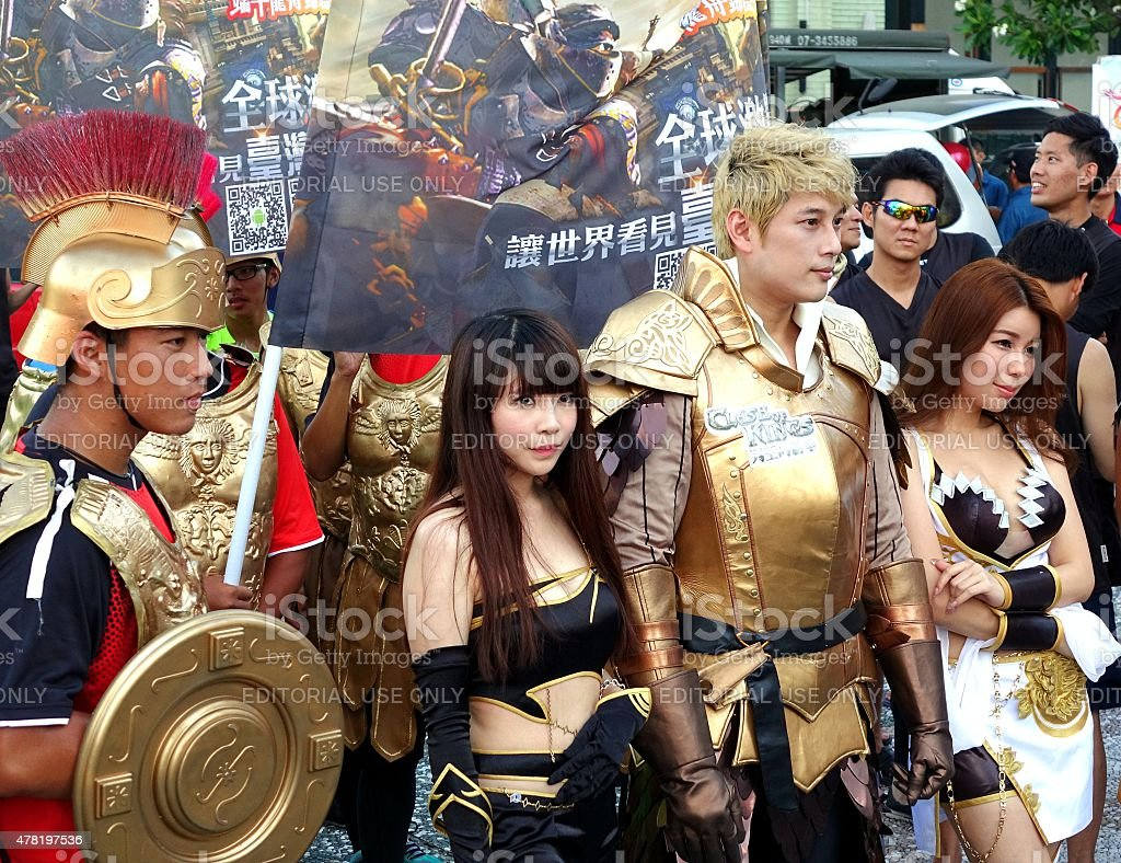 Actors Promote Clash of Kings Game stock photo
