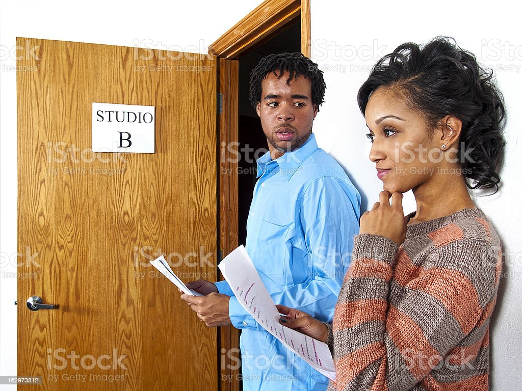 Actors Waiting in Line at a Casting Session Audition stock photo
