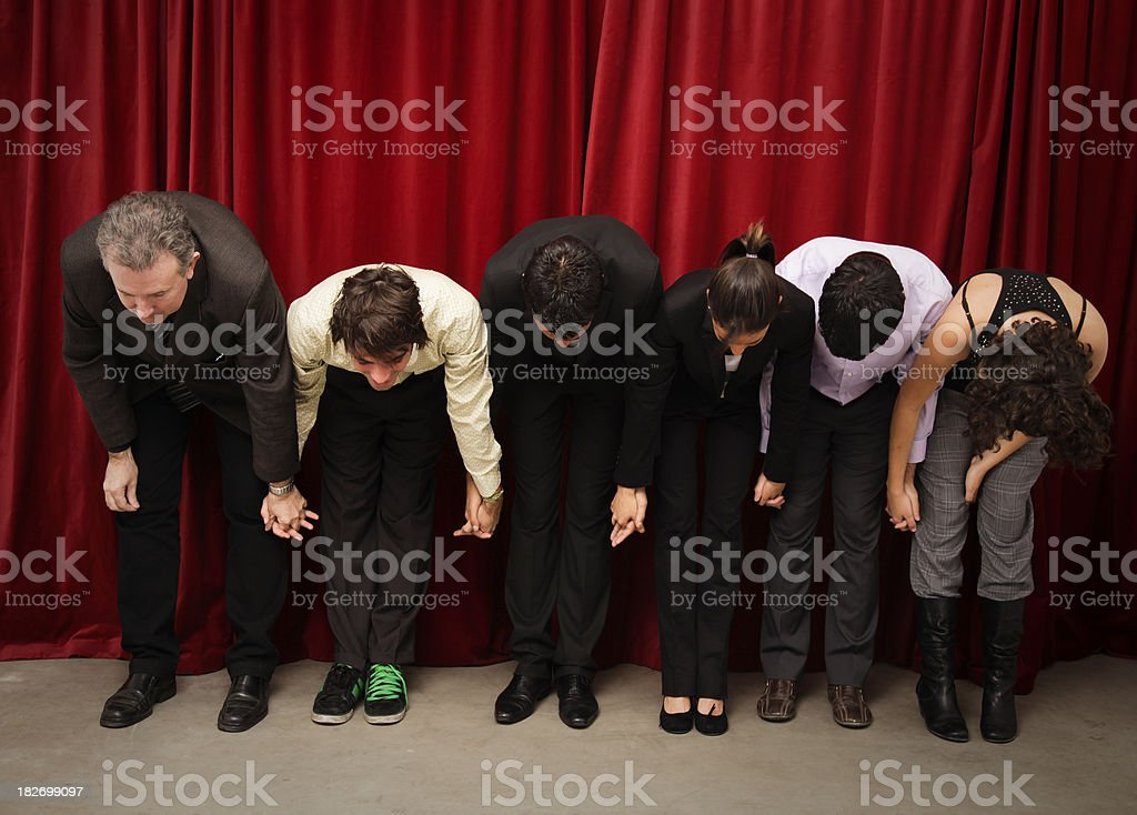 Actos saluting to the audiencie royalty-free stock photo