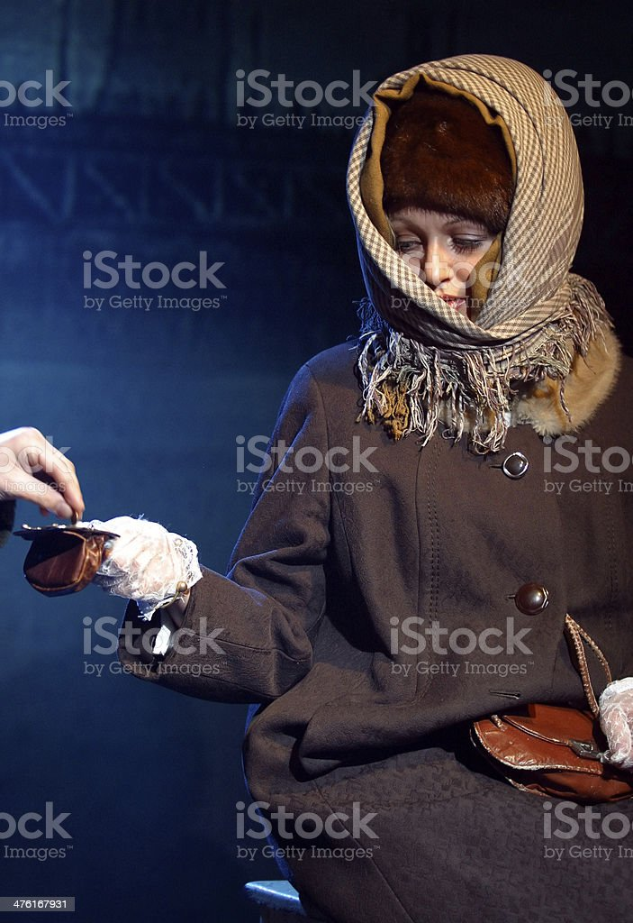 Actress on a stage cries stock photo