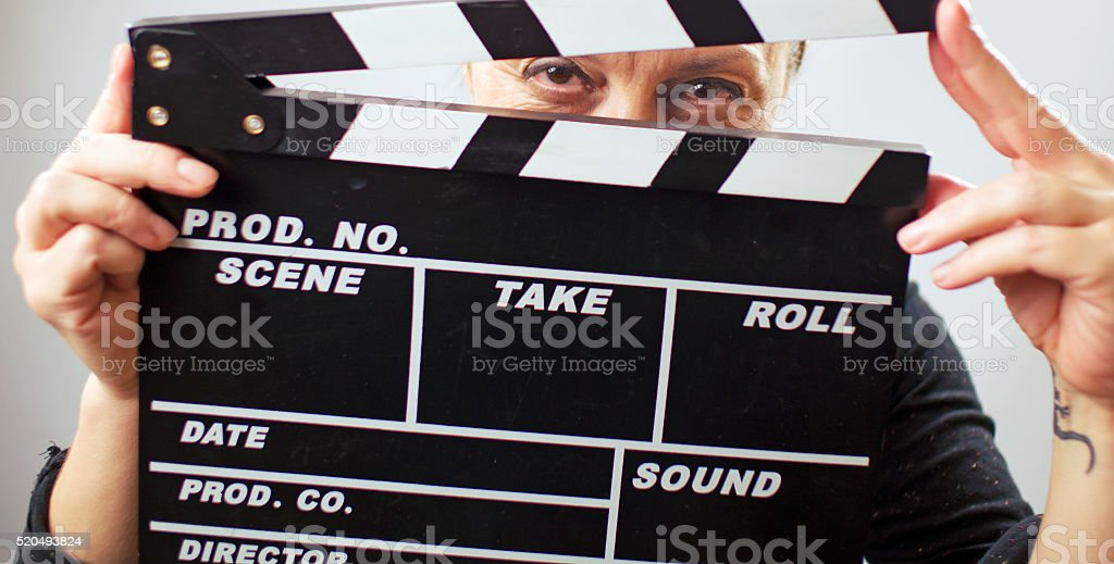 Actress ready to film a new scene stock photo