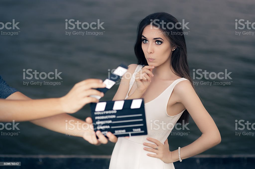 Actress Thinking About Next Line During Movie Shoot stock photo