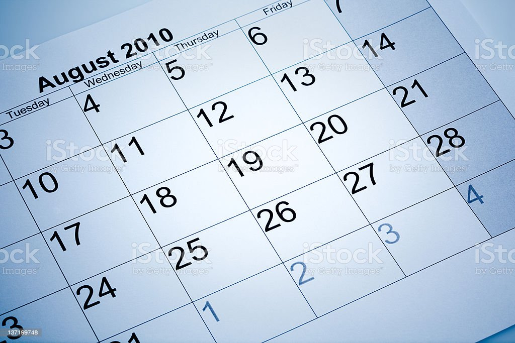 Actual calendar of August 2010 royalty-free stock photo