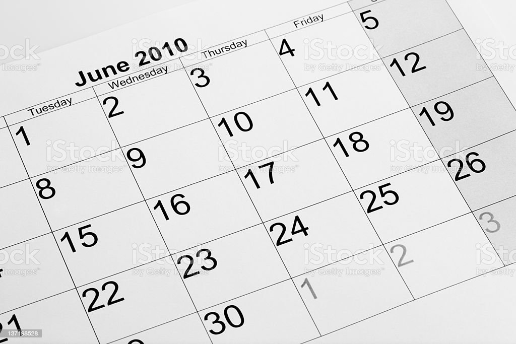 Actual calendar of June 2010 royalty-free stock photo