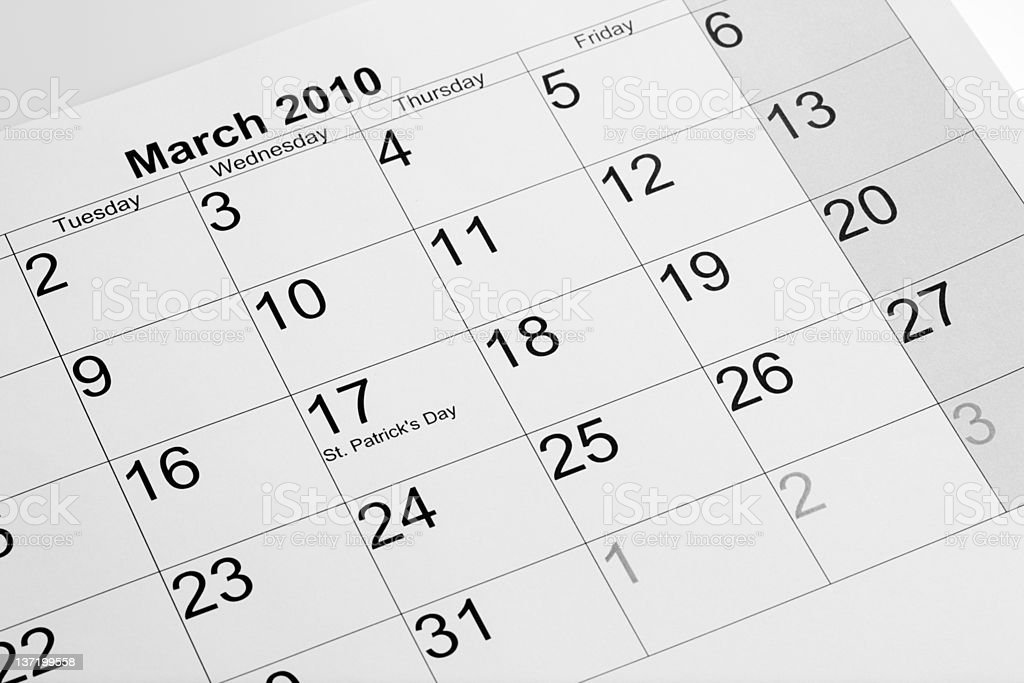 Actual calendar of march 2010 royalty-free stock photo