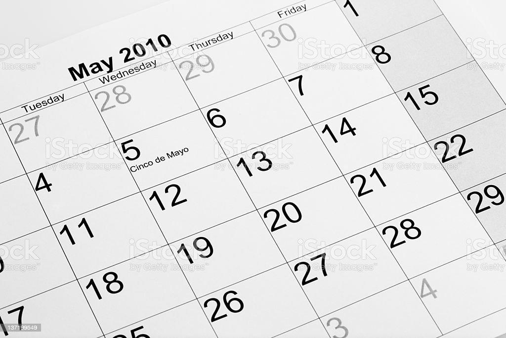 Actual calendar of may 2010 royalty-free stock photo