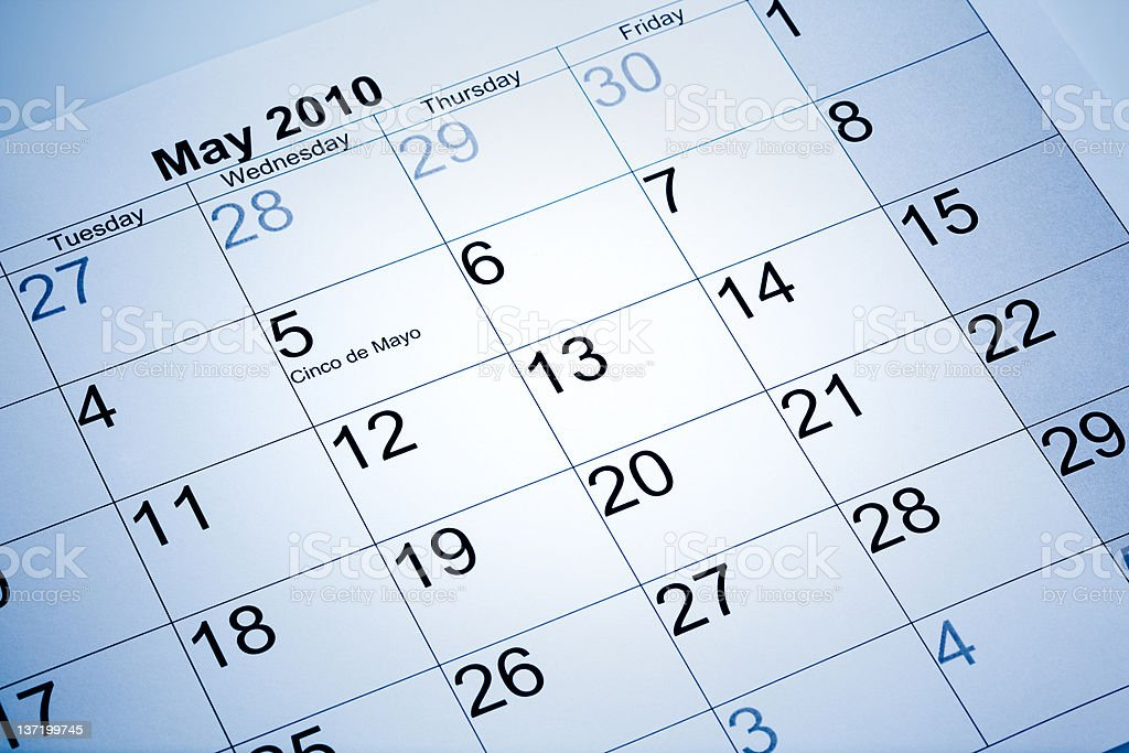 Actual calendar of may 2010 royalty-free stock photo