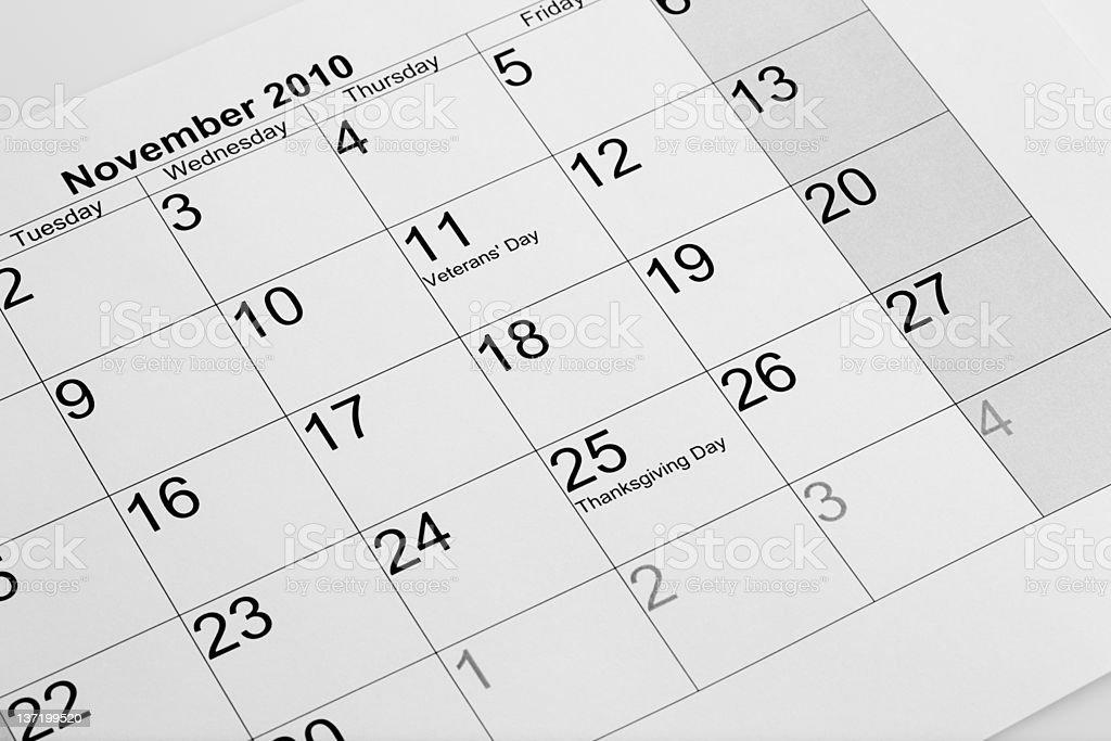 Actual calendar of November 2010 royalty-free stock photo