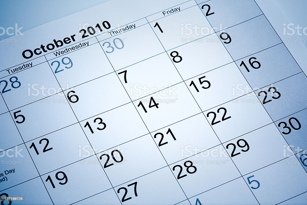 Actual calendar of October 2010 royalty-free stock photo