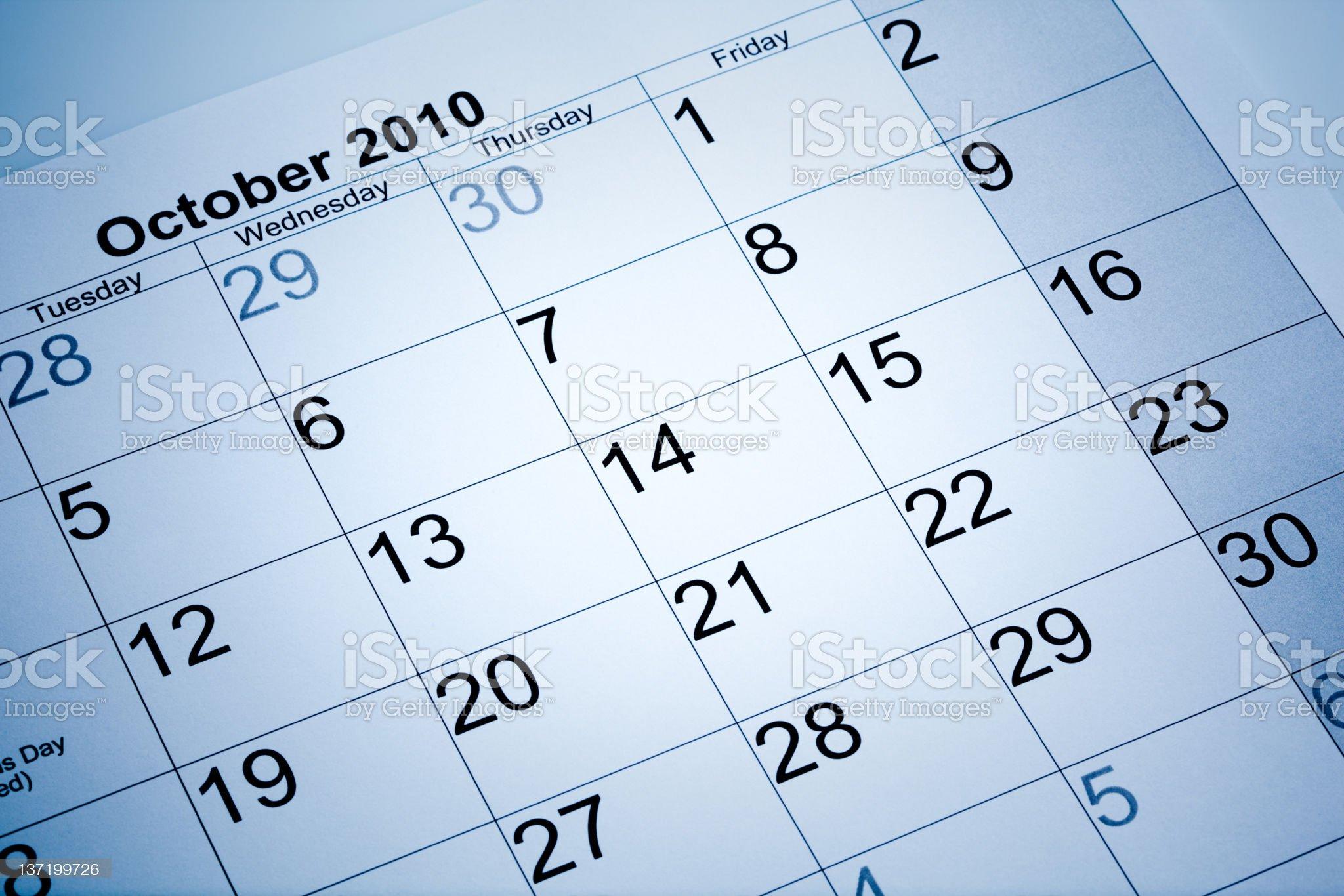 Actual calendar of October 2010 royalty-free stock photo