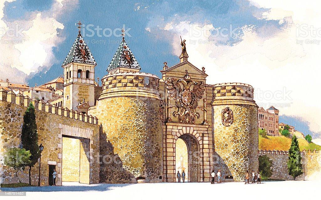 Acuarela Original 'Puerta de Bisagra - Toledo' royalty-free stock photo