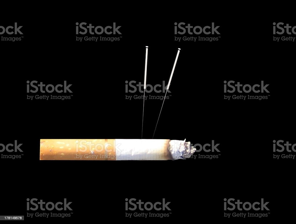 acupuncture against nicotine dependency royalty-free stock photo