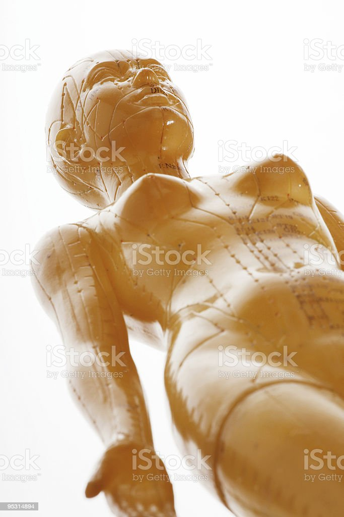 Acupuncture female model from above royalty-free stock photo