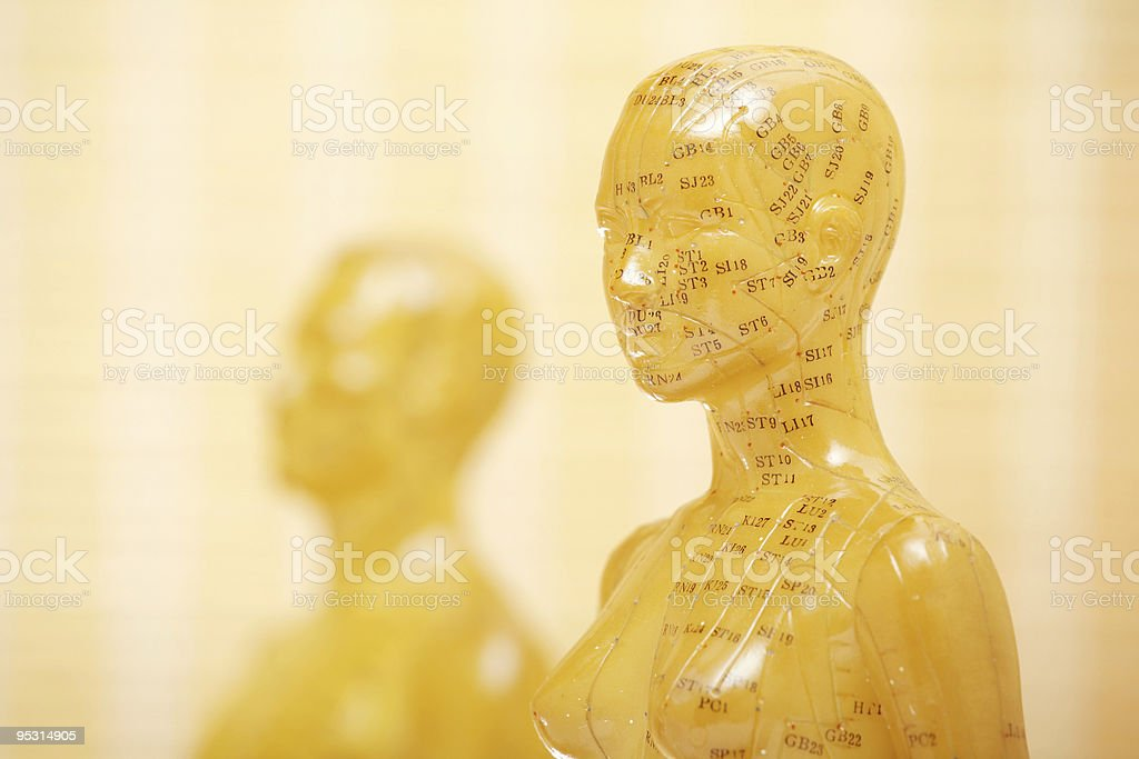 Acupuncture female model with man royalty-free stock photo