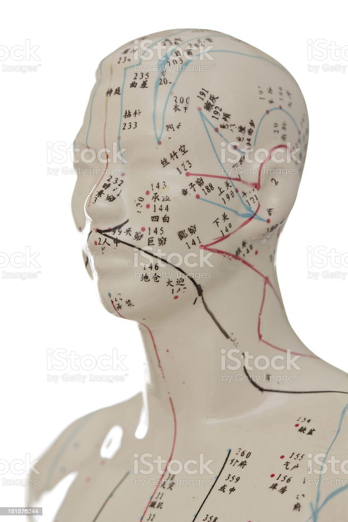 Acupuncture Head stock photo