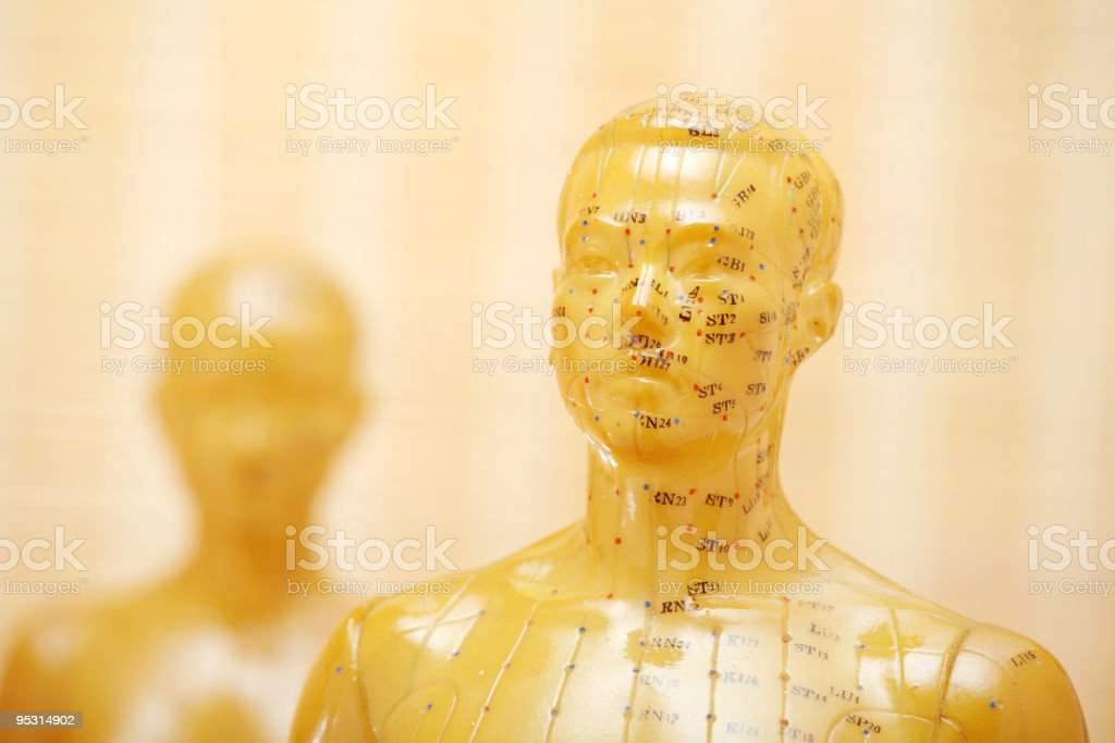 Acupuncture male model with woman royalty-free stock photo