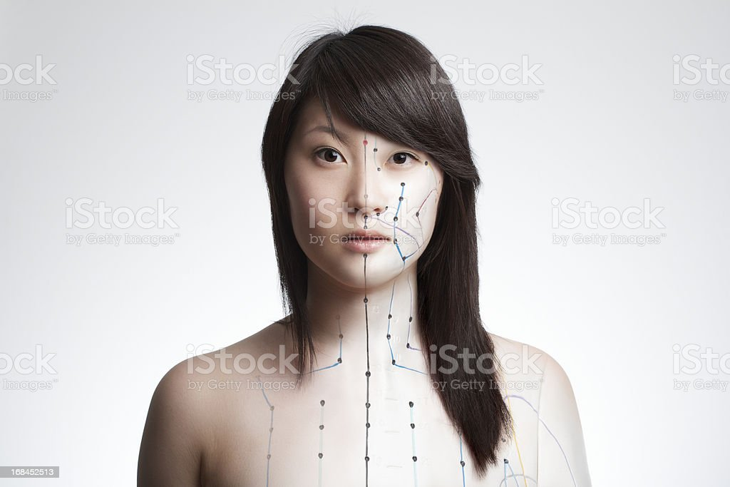 Acupuncture model composing royalty-free stock photo