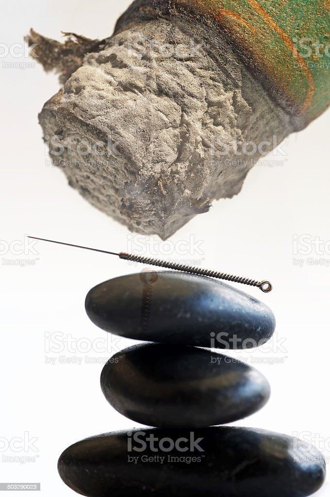 acupuncture needle and moxibustion stock photo