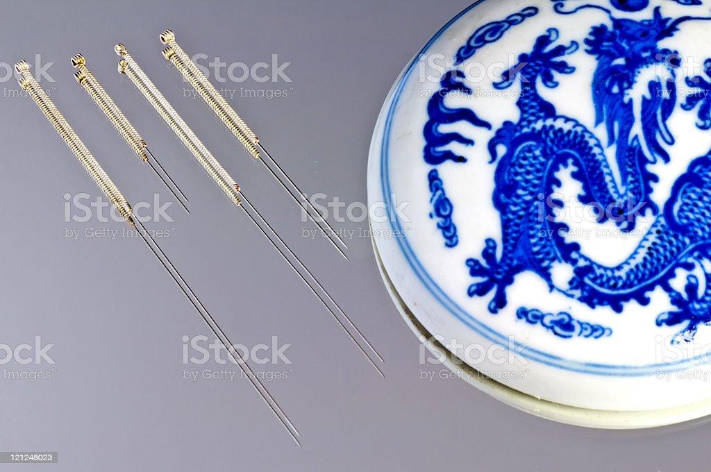 acupuncture needle stock photo