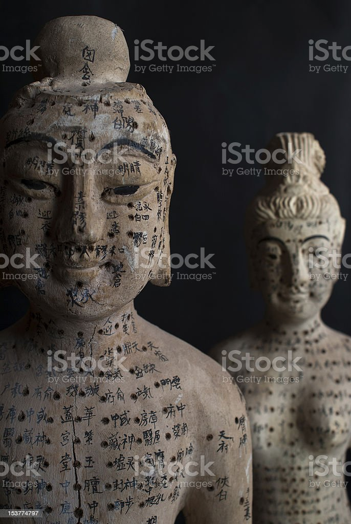 Acupuncture Wooden Figurines stock photo