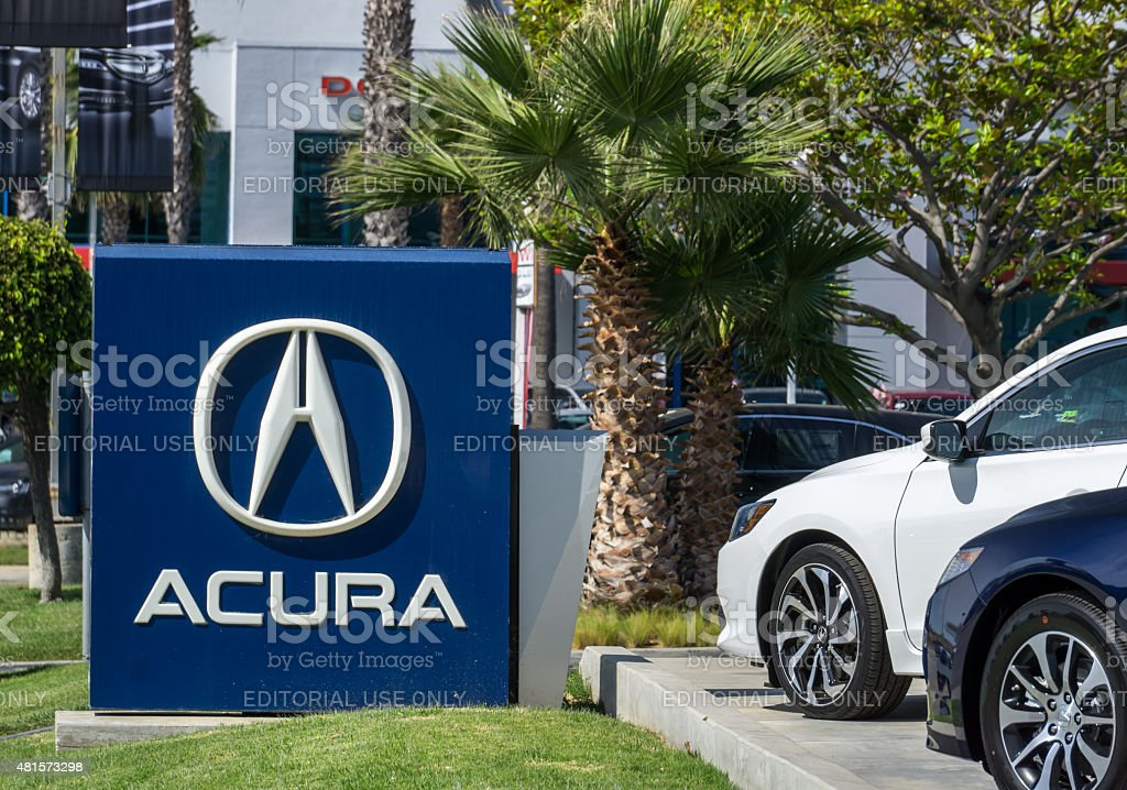 Acura Automobile Dealership Sign and Logo stock photo