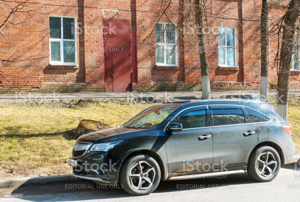 Acura MDX (Honda MDX) parked on the  street of Smolensk City. stock photo