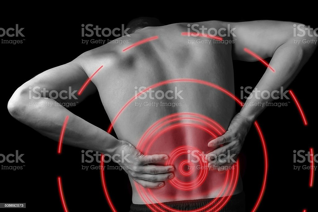 Acute backache, pain area of red color stock photo