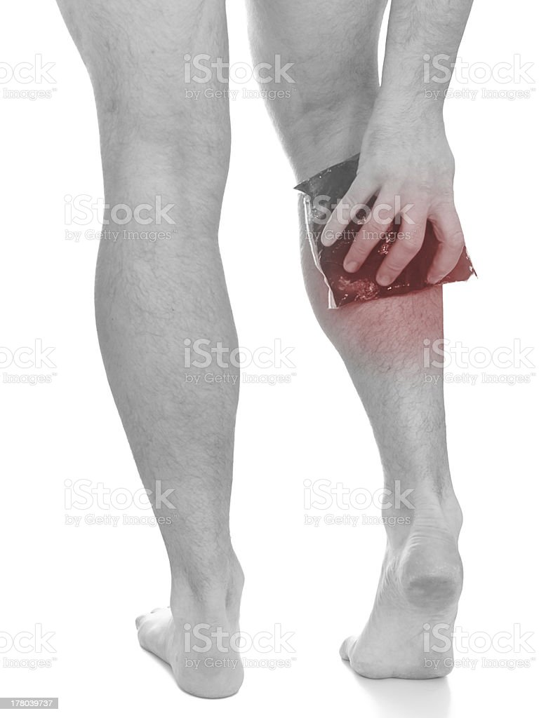 Acute pain in a man calf royalty-free stock photo