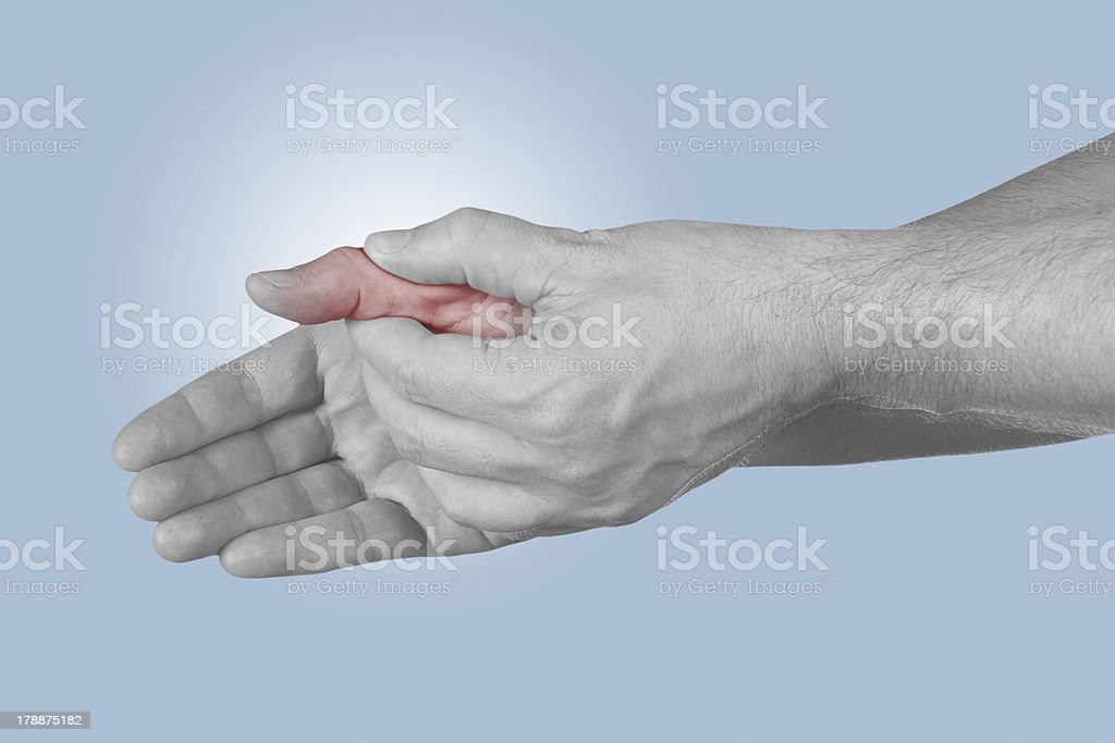 Acute pain in a man finger. royalty-free stock photo