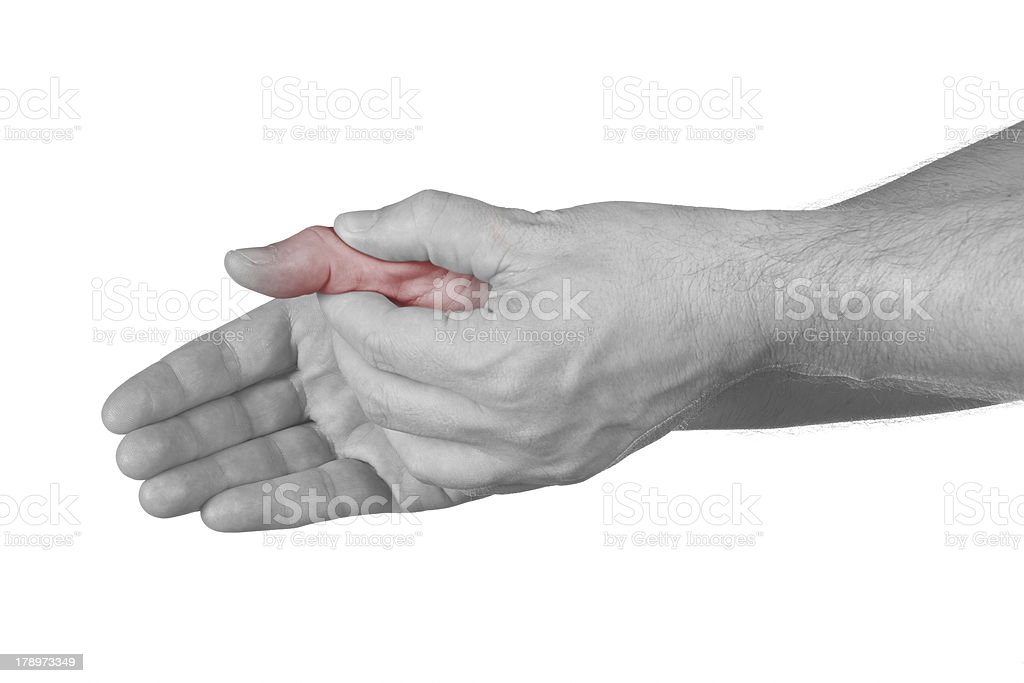 Acute pain in a man finger. stock photo