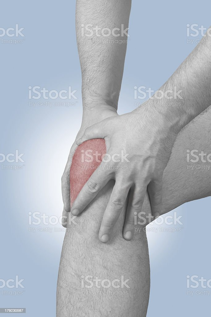 Acute pain in a man knee royalty-free stock photo