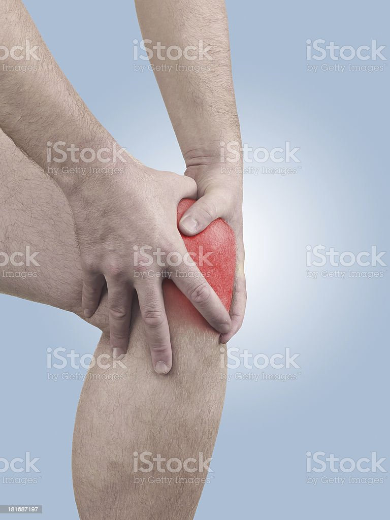 Acute pain in a man  knee. royalty-free stock photo