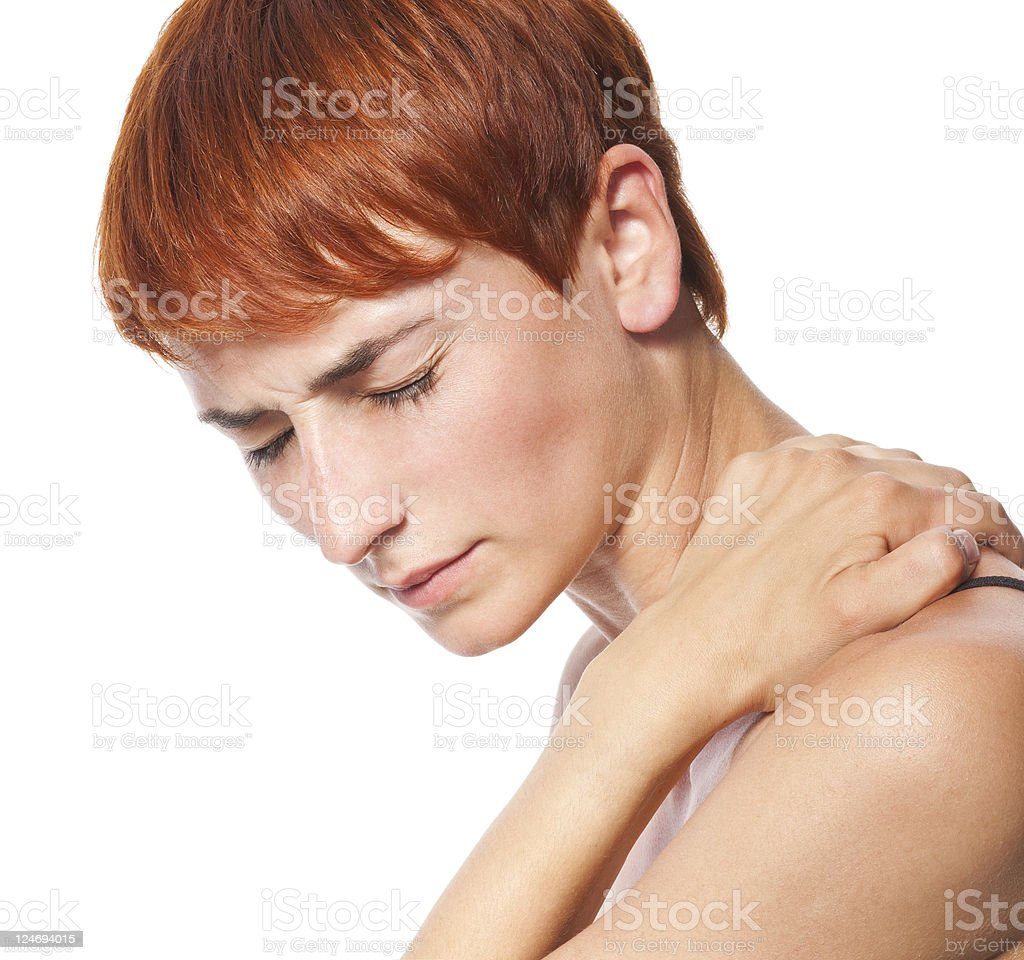 Acute pain in a neck at the young women. royalty-free stock photo