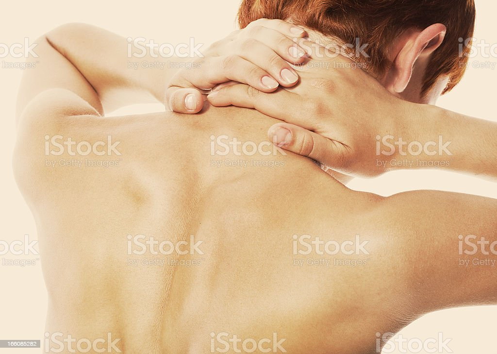 Acute pain in a neck royalty-free stock photo